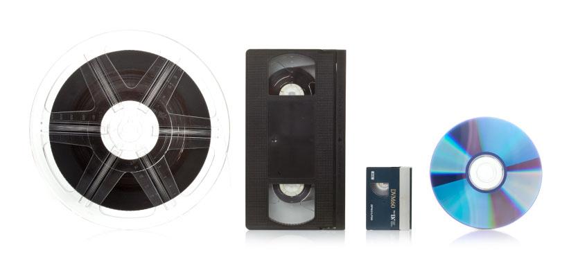 VHS, super 8, dvd, cassette